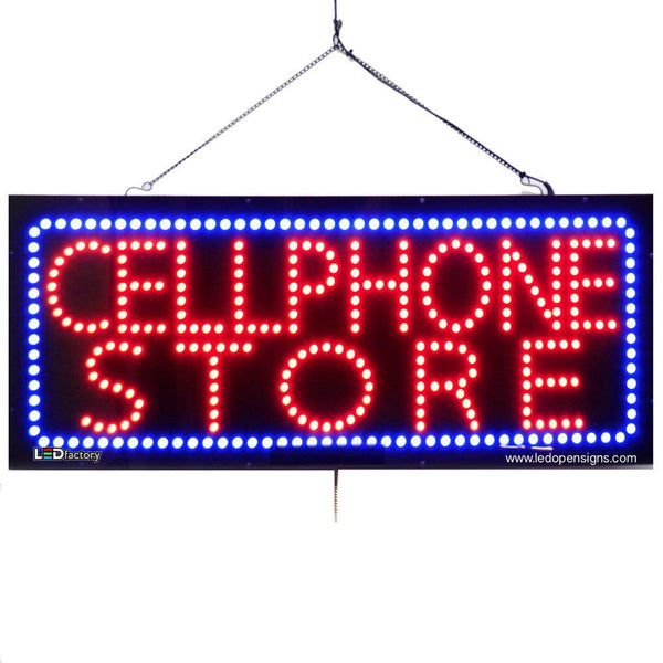 Large LED Window Sign - Cellphone Store - 32 inches Wide - LED-Factory (#2756) - Led Open Signs