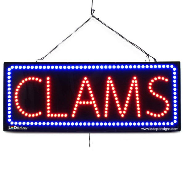Clams- Large LED Window Sign (#2758) - Led Open Signs