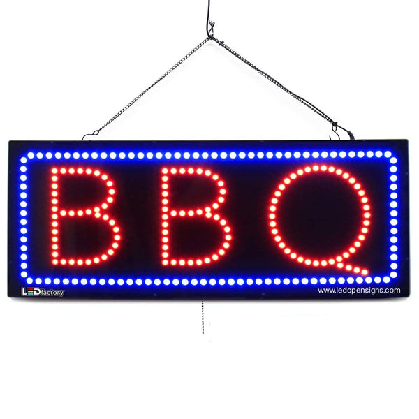 Large LED Window Sign - BBQ - 32 inches Wide - LED-Factory (#2761) - Led Open Signs