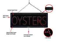 Oysters- Large LED Window Sign (#2762) - Led Open Signs