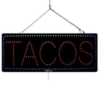 Large LED Window Sign - Tacos - 32 inches Wide - LED-Factory (#3037) - Led Open Signs
