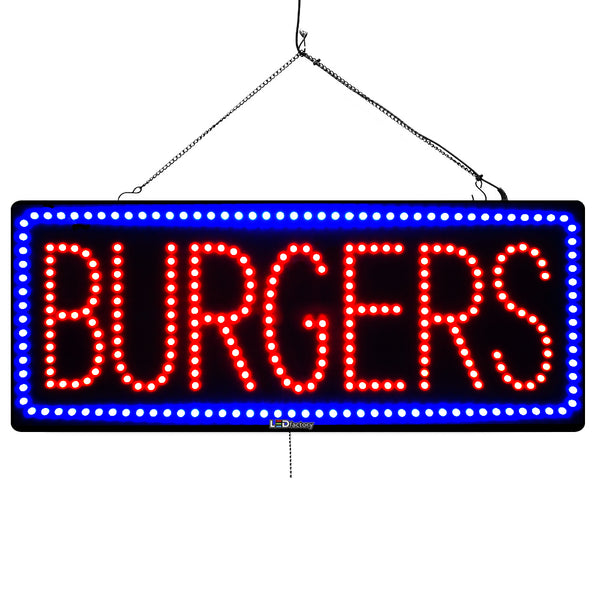 Large LED Window Sign - Burgers - 32 inches Wide - LED-Factory (#3052) - Led Open Signs