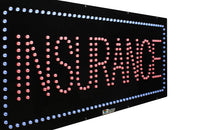 Insurance - Large LED Window Sign (#933) - Led Open Signs