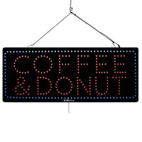 Coffee & Donuts - Large LED Window Sign (#947) - Led Open Signs