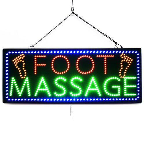 Foot Massage with Feet - Large LED Window Sign (#992) - Led Open Signs