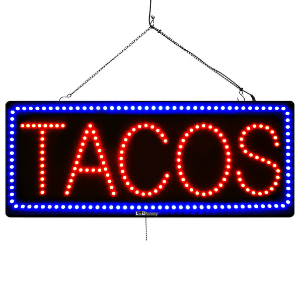 Tacos - Large LED Window Sign (#3037) - Led Open Signs