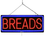 Breads - Large LED Window Sign (#3051) - Led Open Signs