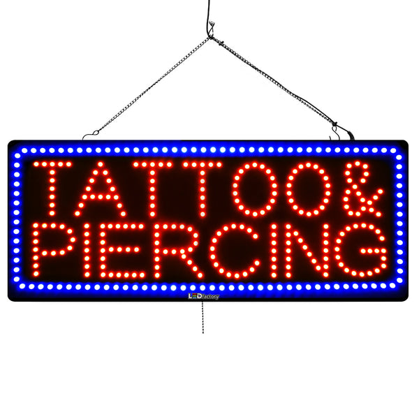Tattoo & Piercing - Large LED Window Sign (#3074) - Led Open Signs