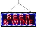 Beer & Wine- Large LED Window Sign (#946) - Led Open Signs