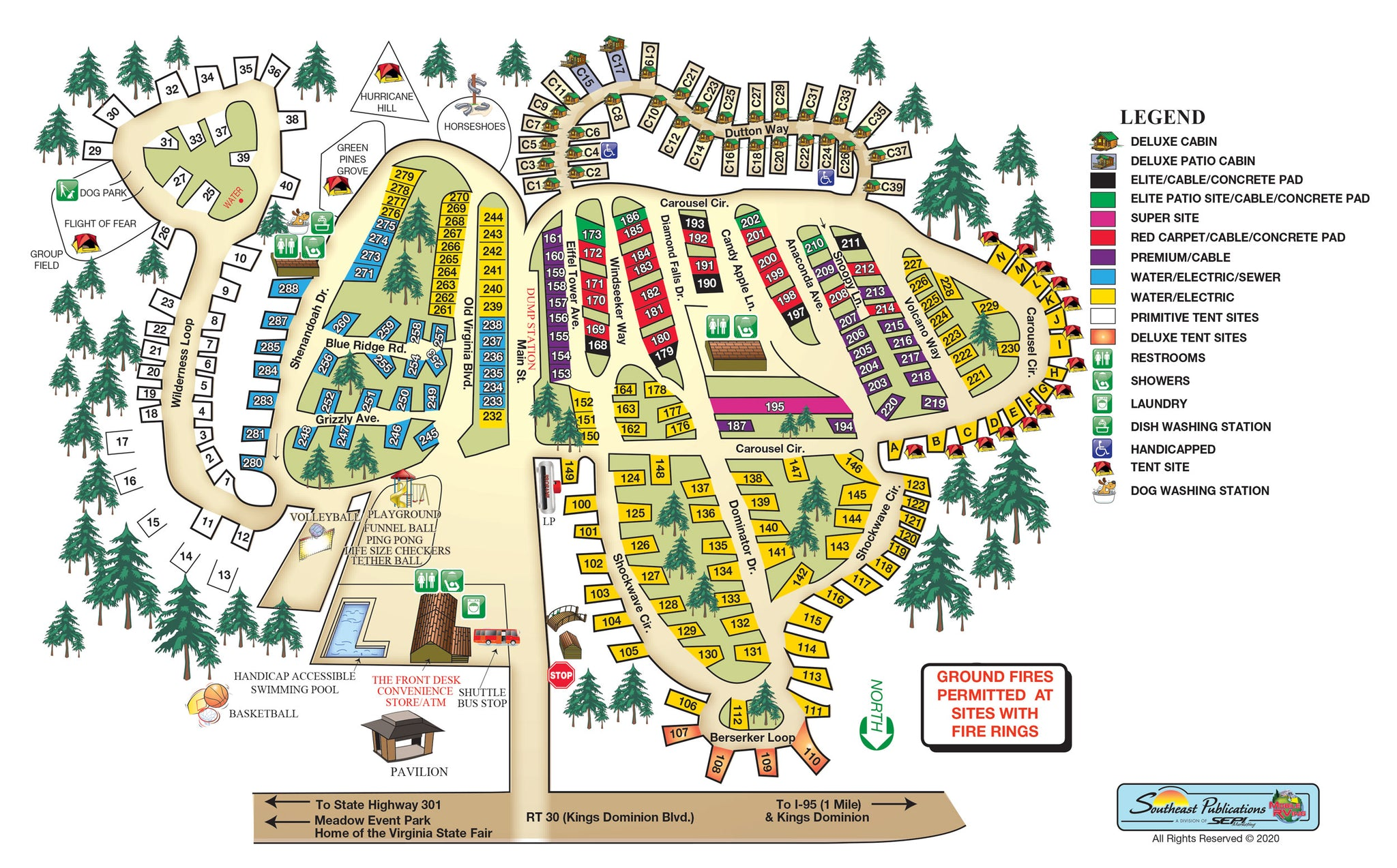 kings dominion campground map