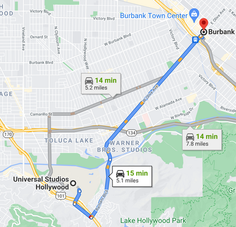 directions from burbank to Universal Studios Hollywood
