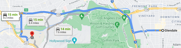 directions from universal studios hollywood to glendale