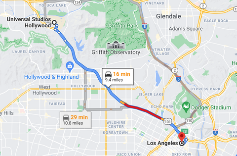 directions from los angeles to universal studios hollywood