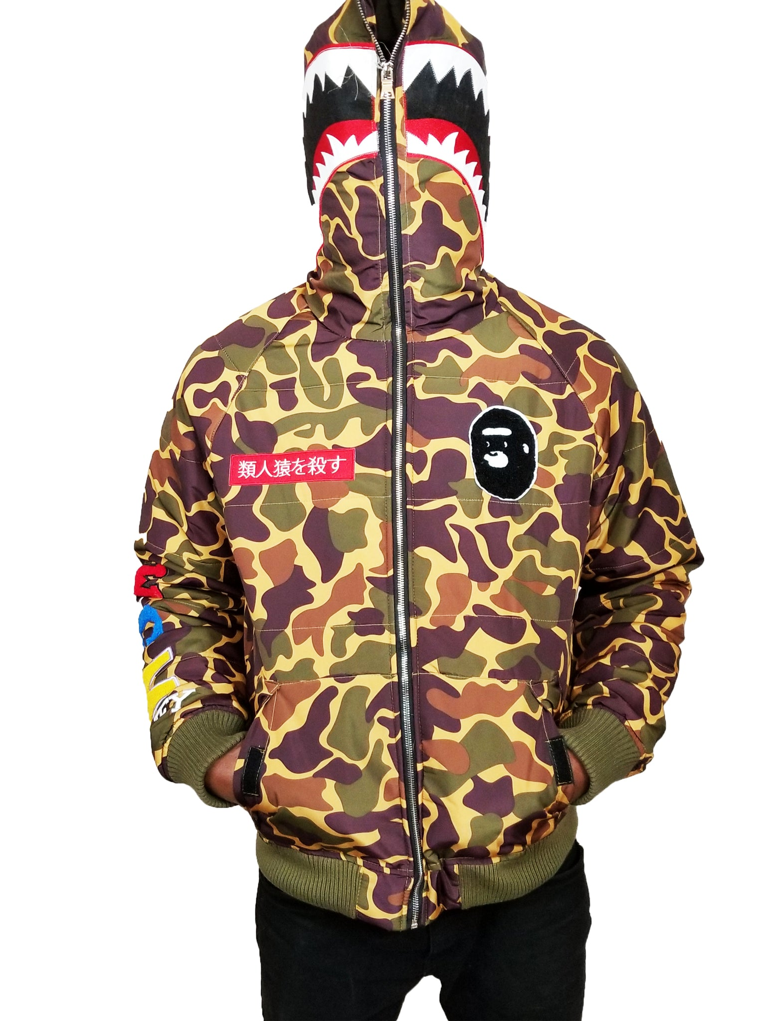 43d5a370 ... Load image into Gallery viewer, Japan Bape camo Shar Jaw Down Coat A Bathing  Ape ...