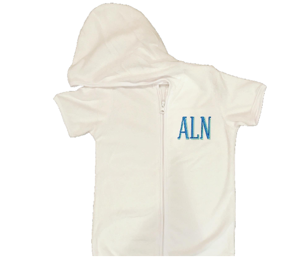 Solid White Swim Cover Up with Monogram