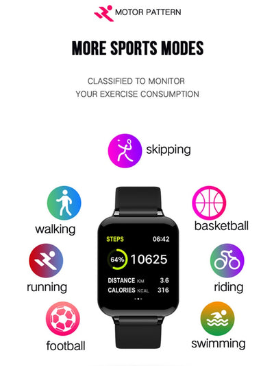 Smart 57 Waterproof Sports Smartwatch Heart Rate Monitor - Blood Pressure Functions