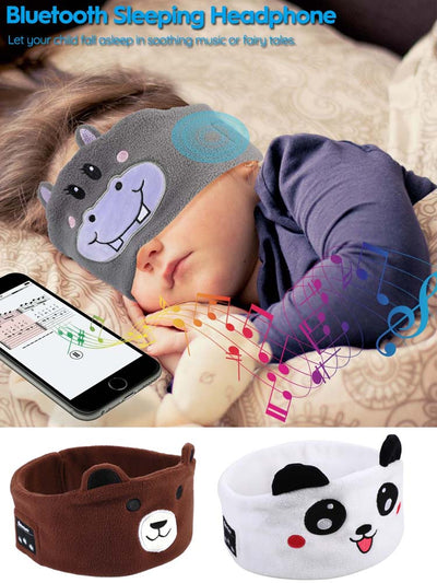 JINSERTA Cute Kid Bluetooth Headphone Sleep Mask Bluetooth 5.0 Stereo Music Player Support Handsfree Soft Headband for Phone