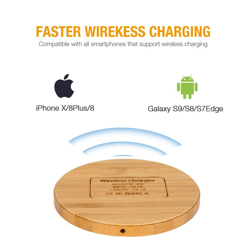 Kabym Portable Qi Wireless Charger thin Wood Pad For Apple iPhone 7 8 Plus Smart Phone Wireless Charging Pad For Samsung S7