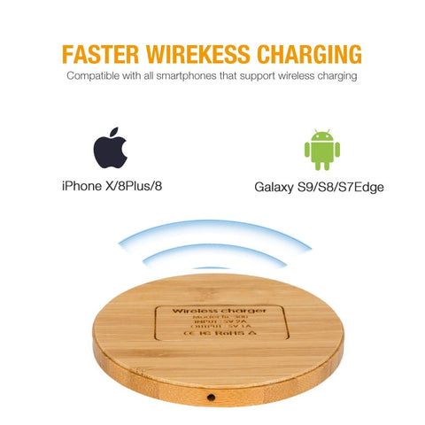 Image of Kabym Portable Qi Wireless Charger thin Wood Pad For Apple iPhone 7 8 Plus Smart Phone Wireless Charging Pad For Samsung S7