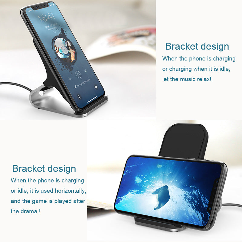 Wireless Charger Quick Charging Qi Certified Desk Stand Wireless Charger with One Meter Type C to USB Cable Without AC Adapter