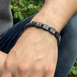 Black Knight -  VIP Beaded Bracelet In Black Rhodium Over Silver  | 10MM | Club Equilibrium