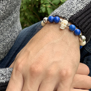 Warrior - Blue Jade Bracelet with Horn Skull and Ox Bone in Silver | 10MM | Club Equilibrium