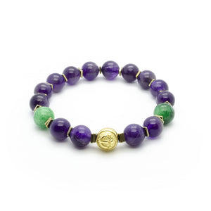 Purple Mystery | Premium Amethyst Bracelet With Green Jade in Gold | 10MM - CLUB EQUILIBRIUM