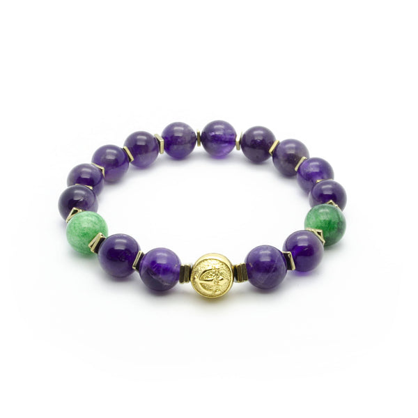 Purple Mystery | Premium Amethyst Bracelet With Green Jade in Gold | 10MM | Club Equilibrium