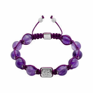 Royal Amethyst Macrame Adjustable Bead Bracelet in Gold or Silver  | 10MM | Club Equilibrium