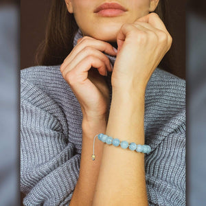 NEW/on-site/ Women - 1/#1/Ocean Wave | Stunning Aquamarine Stone Bracelet in Gold/Silver | 10MM | Club Equilibrium