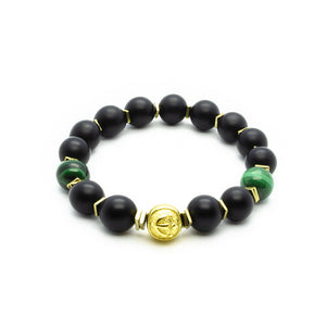 Luxury in Black - Onyx Bracelet With Malachite in Gold | 10MM | Club Equilibrium