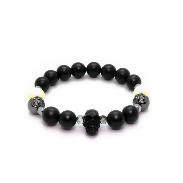 Stylish Black Onyx Bracelet with Horn Skull, Ox Bone and Hematite in Rhodium | 10MM | Club Equilibrium