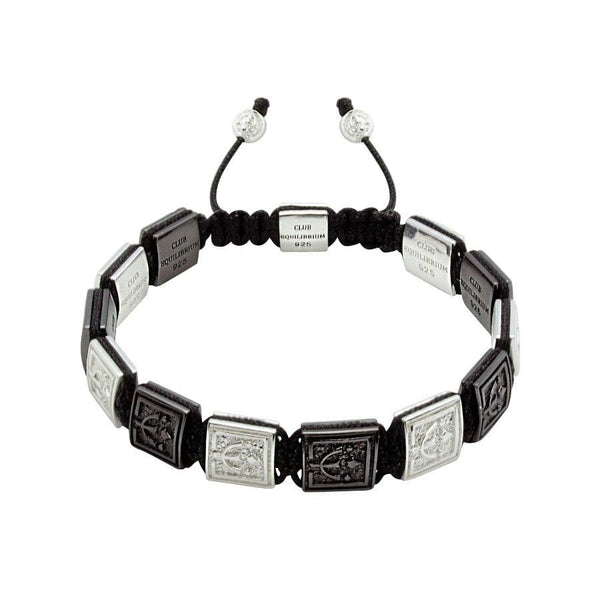 Black & White -  VIP Beaded Bracelet In Black Rhodium and Silver  | 10MM | Club Equilibrium
