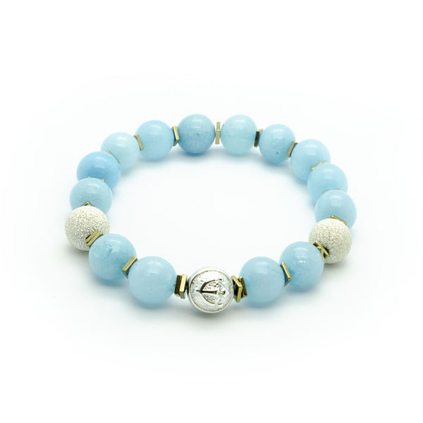 Gorgeous Blue Jade Bracelet With Frosted Silver Beads and Trident  | 10MM | Club Equilibrium