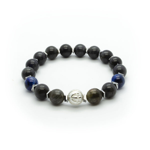 Premium Black Labradorite Stretch Bracelet With Blue Kyanite in Silver | 10MM | Club Equilibrium