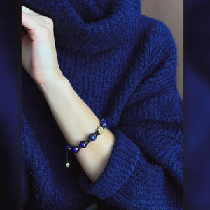 Signature Blue Lapis Lazuli Stone Macrame Bracelet in Gold and Silver | 10MM | Club Equilibrium