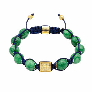 Premium Knotted Green Jade Bead Bracelet in Gold | 10MM | Club Equilibrium