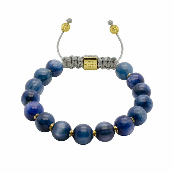 Blue Magic | Kyanite Adjustable Stone Bracelet in Gold or Silver | 10MM | Club Equilibrium