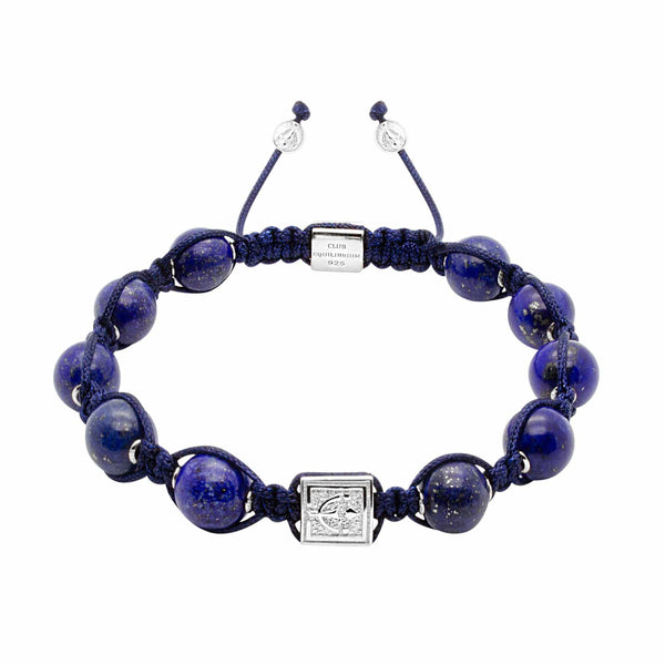 Signature Blue Lapis Lazuli Stone Macrame Bracelet in Gold and Silver | 10MM - CLUB EQUILIBRIUM