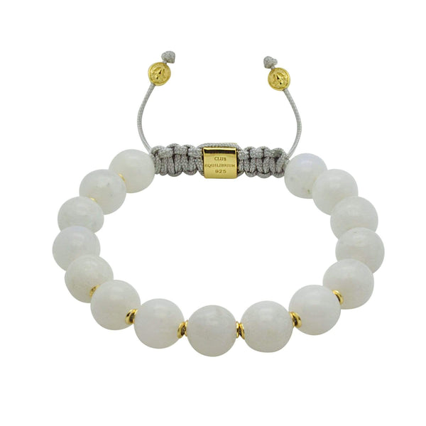 NEW/on-site/ Women - 1/#2/Calming Mystery | Mystic Moonstone Stone Bracelet in Gold/Silver | 10MM | Club Equilibrium