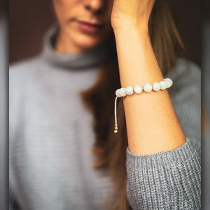 Calming Mystery | Mystic Moonstone Stone Bracelet in Gold/Silver | 10MM | Club Equilibrium