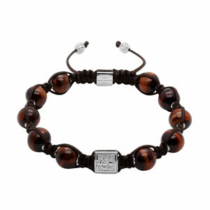 Signature Red Tiger Eye Macrame Bracelet in Gold/Silver/Rhodium | 10MM | Club Equilibrium