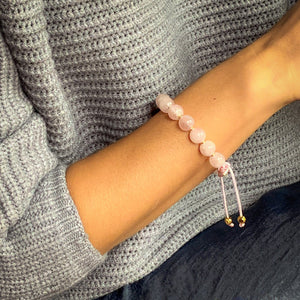 Love Magnet | Stunning Rose Quartz Bracelet in Gold/Silver | 10MM | Club Equilibrium