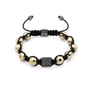 Fiery Knotted Pyrite Bracelet With Rhodium Over Solid Silver | 10MM - CLUB EQUILIBRIUM