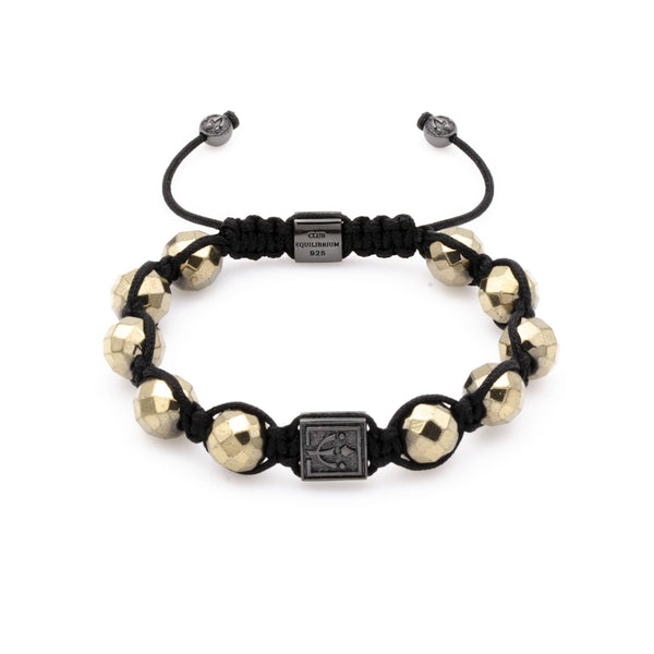 Fiery Knotted Pyrite Bracelet With Rhodium Over Solid Silver | 10MM | Club Equilibrium