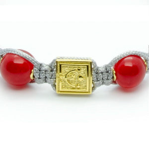 Ultimate Courage - Red Jade Stone Bead Bracelet in Gold | 10MM | Club Equilibrium