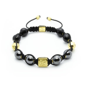 Signature Midnight - Hematite Bracelet With Onyx in Gold | 10MM | Club Equilibrium