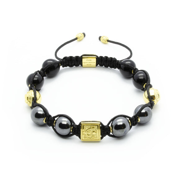 Signature Midnight - Powerful Hematite Bracelet With Onyx in Silver and Gold | 10MM - CLUB EQUILIBRIUM