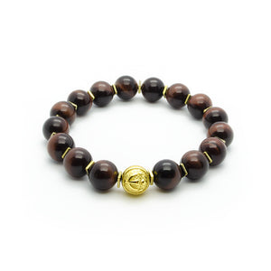 Ultimate Protection - Red Tiger's Eye Stretch Bracelet in Gold | 10MM - CLUB EQUILIBRIUM