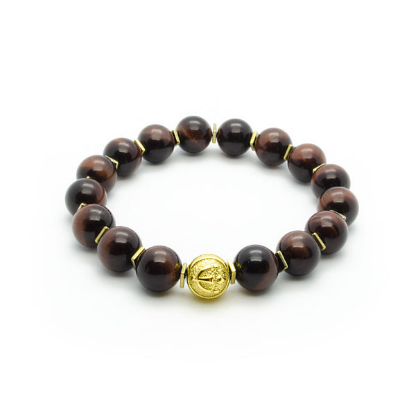 Ultimate Protection - Red Tiger's Eye Stretch Bracelet in Gold | 10MM | Club Equilibrium